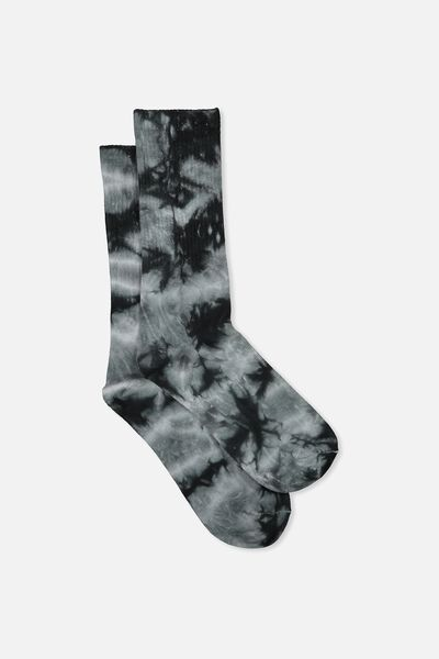 Single Pack Active Socks, BLACK/TIE DYE