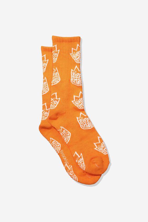 Single Pack Active Socks, LC/ORANGE/BIGGIE SMALLS