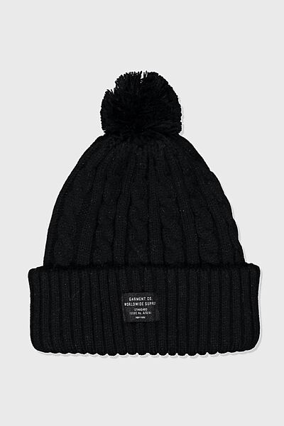 Arctic Beanie, BLACK CABLE/WORLDWIDE SUPPLY