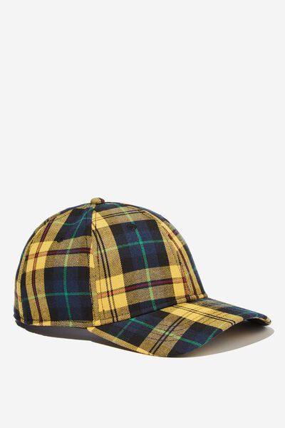 Outfield Fitted Cap, YELLOW/NAVY PLAID