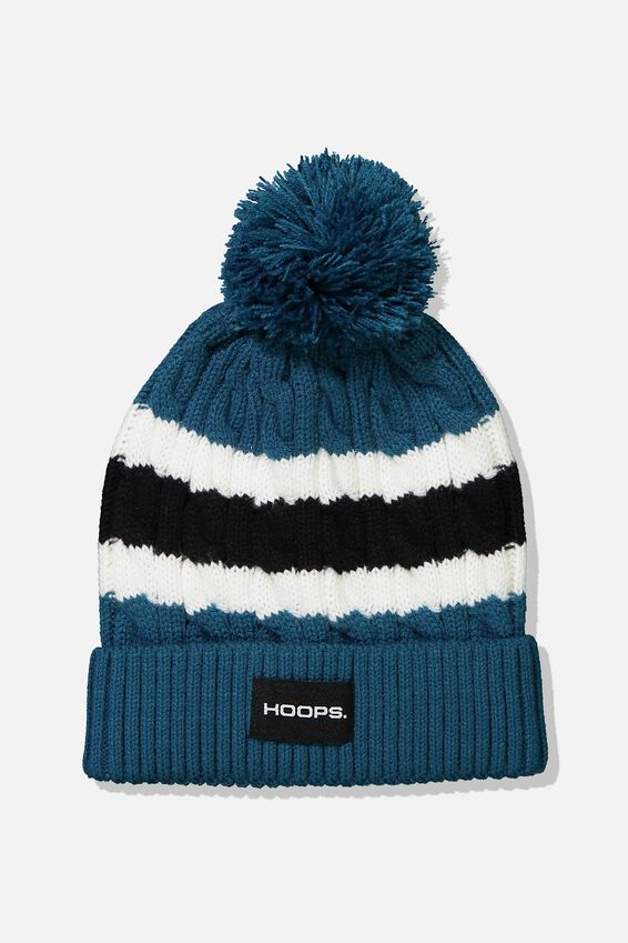 Poma Beanie Nu, CORAL BLUE/WHITE STRIPE/HOOPS PATCH