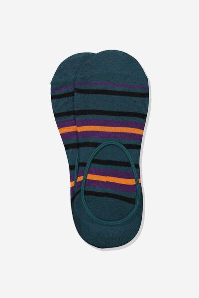 Invisible Socks 2 Pack, TEAL/PURPLE/ORANGE STRIPE
