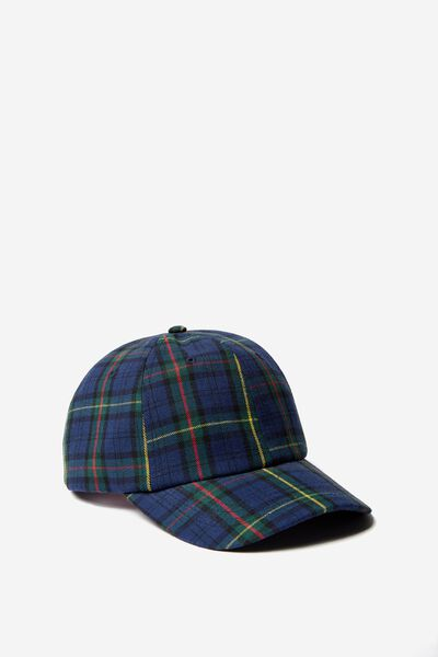 Strap Back Dad Hat, BLUE/GREEN/RED CHECK