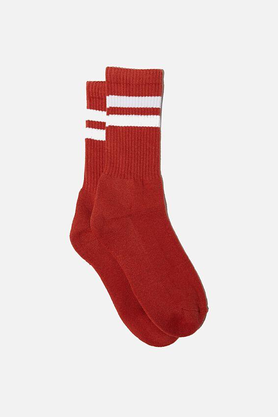 Single Pack Active Socks, BURNT RED/WHITE/SPORT STRIPE
