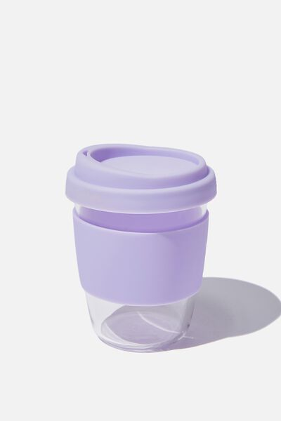 Reusable Glass Coffee Cup 380Ml, LILAC