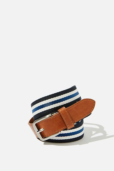 Mills Canvas Belt, BROWN/NAVY/WHITE STRIPE/BRUSHED SILVER