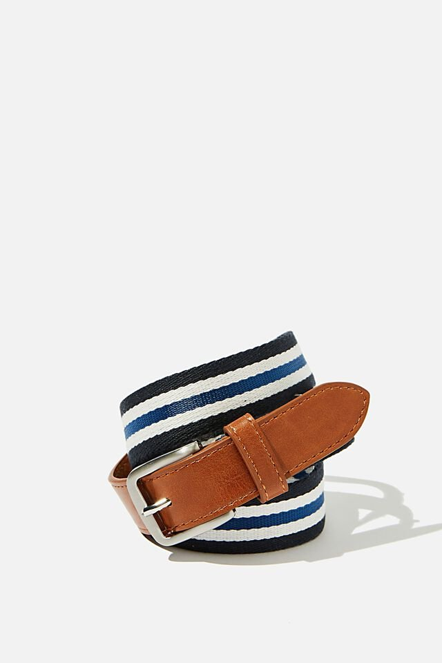 Mills Canvas Belt, BROWN/NAVY/WHITE STRIPE/BRUSHED SILVER