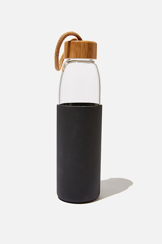 Reusable Glass Drink Bottle 550Ml, BLACK