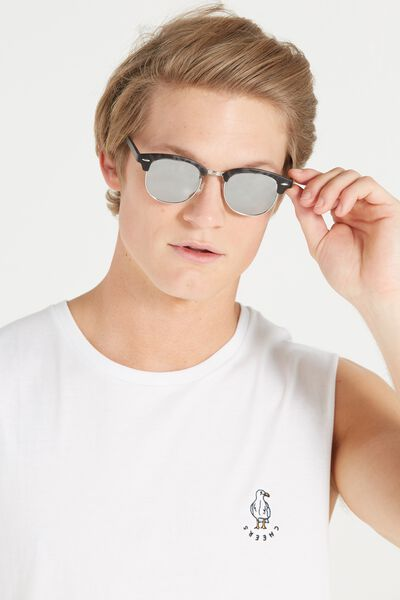 Smooth Operator Sunnies, BLACK TORT/SILVER MIRROR