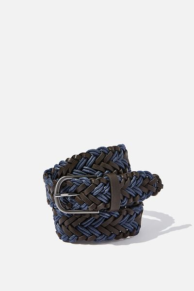 Braided Belt, BROWN/NAVY/BRUSHED GUNMETAL