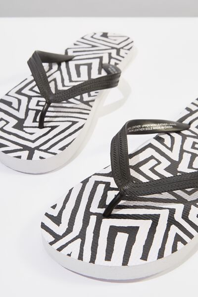 Bondi Flip Flop, BLACK/WHITE TRIBAL