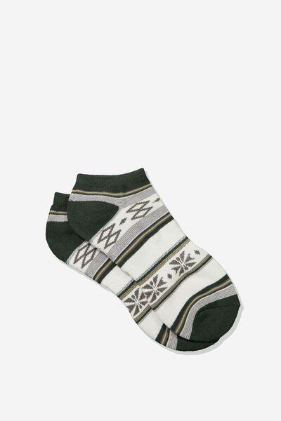Mens Ankle Sock, KHAKI/BLANKET