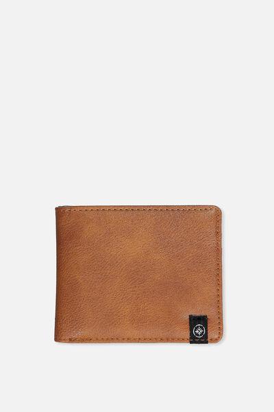 Personalised Mens Flip Wallet, TAN PU