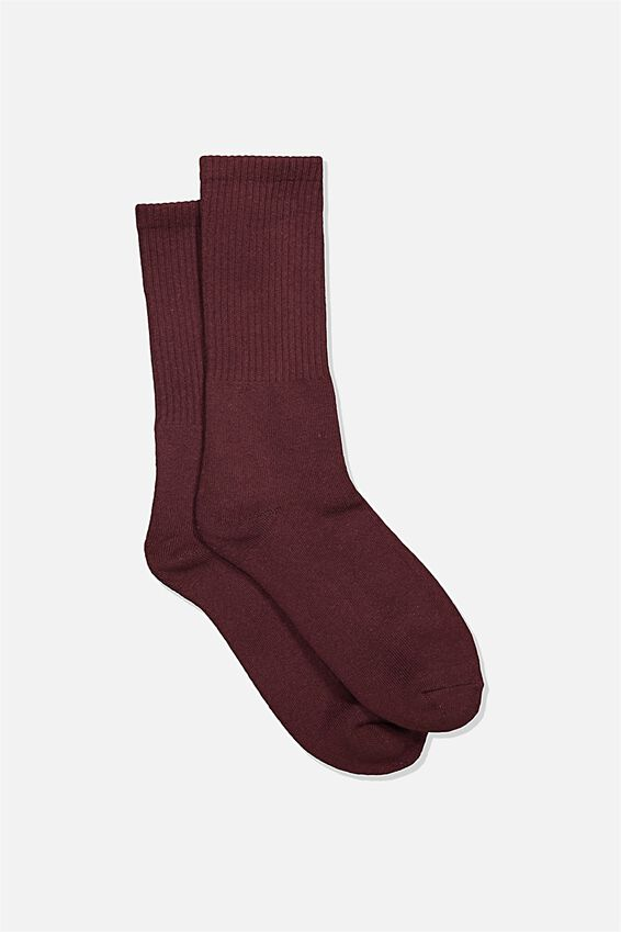 Single Pack Active Socks, CHOCOLATE