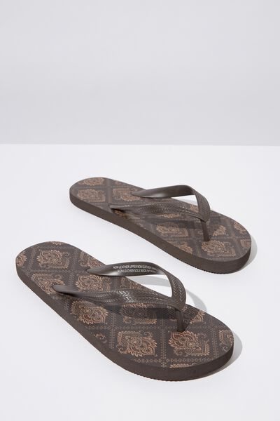 Bondi Flip Flop, DARK RED/CHOCOLATE TILE PAISLEY