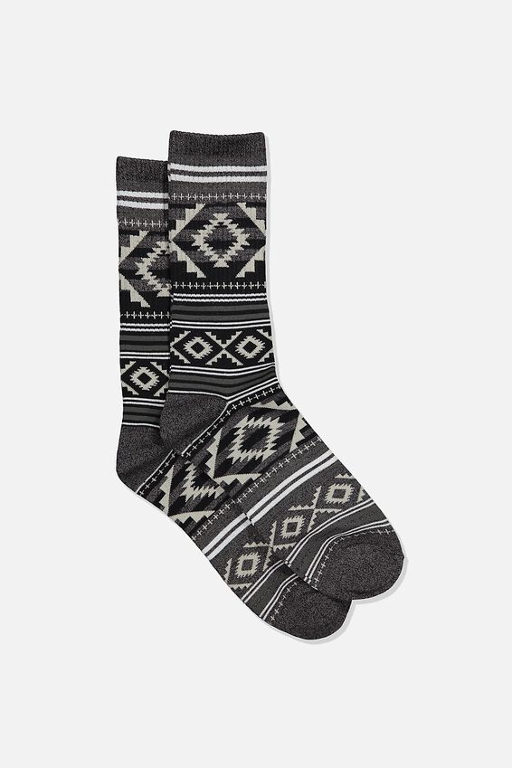 Single Pack Active Socks, BLACK MARLE/GREY AZTEC STRIPE