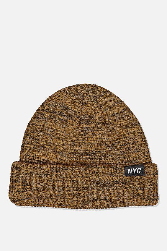 Hopper Beanie Nu, MUSTARD/BLACK MARLE/NYC