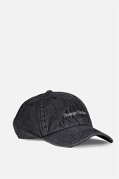 Strap Back Dad Hat, WASHED BLACK DENIM/STRANGE PARADISE