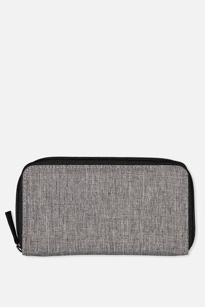 Large Zip Wallet, GREY CROSSHATCH