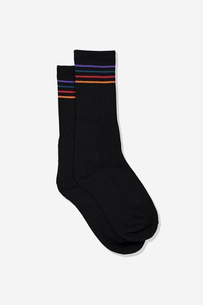 Single Pack Active Socks, BLACK/RAINBOW STRIPE
