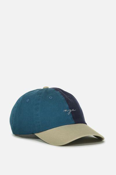 Strap Back Dad Hat, TEAL/SAND/NY SCRIPT