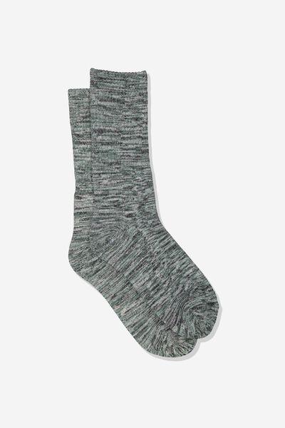 Single Pack Active Socks, SAGE MELANGE