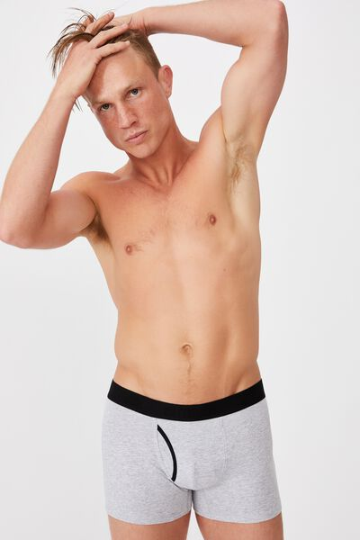 Mens Organic Cotton Trunks, GREY MARLE/BLACK