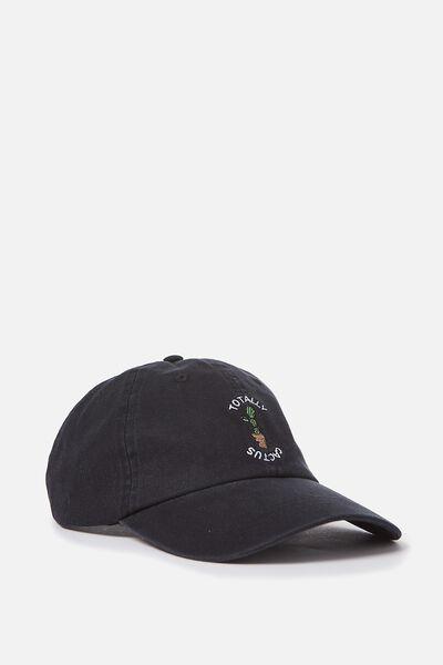 Strap Back Dad Hat, WASHED BLACK/CACTUS