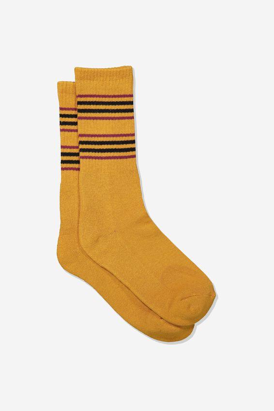 Single Pack Active Socks, CAMEL/BLACK CUFF STRIPE