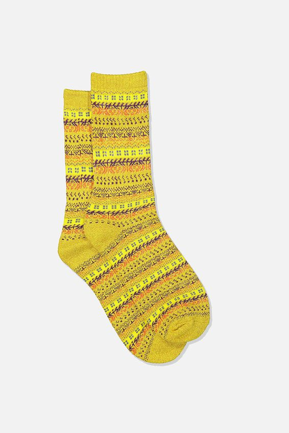 Single Pack Active Socks, MUSTARD/PURPLE/FAIRISLE