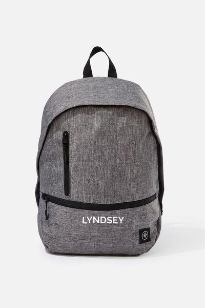 Personalised Transit Backpack, GREY CROSSHATCH