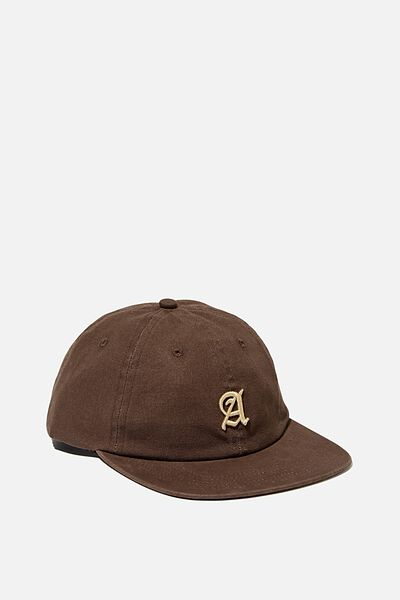 6 Panel Hat, CHOCOLATE/CALIGRAPHY A