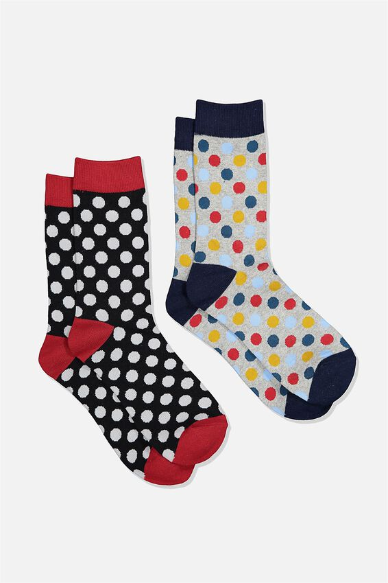 Dress Socks 2 Pack, POLKA DOTS/BLACK/RED/GREY MARLE/BLUE