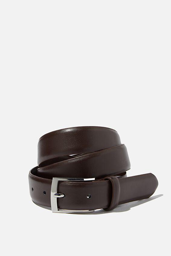 Dress Belt, CHOCOLATE/SILVER