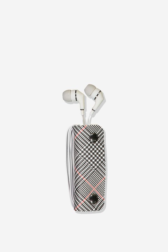 Earbuds With Case, GREY/GREY CHECK