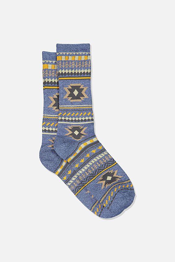 Single Pack Active Socks, STEEL BLUE MARLE/BROWN IKAT