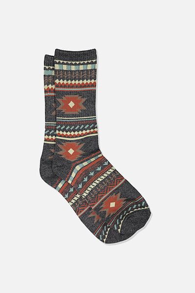 Single Pack Active Socks, BLACK MARLE/ROOIBOS RED IKAT