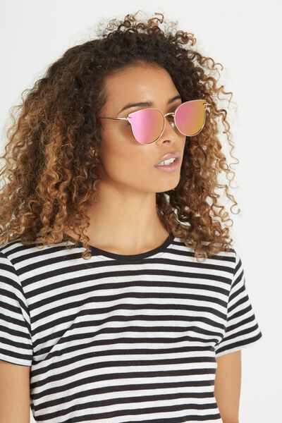 Wing It Metal Sunglasses, GOLD/BRIGHT PINK