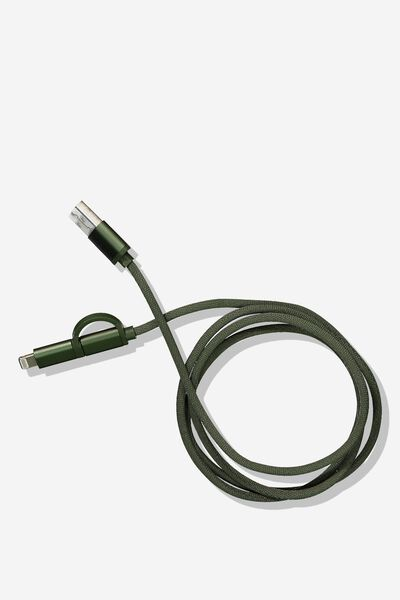 2 In 1 Charge/Sync Cable, KHAKI/MATTE KHAKI