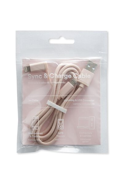 2 In 1 Charge/Sync Cable, BARELY PINK