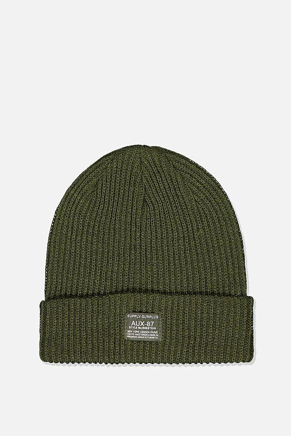 Basic Ribbed Beanie, KHAKI/SUPPLY SURPLUS