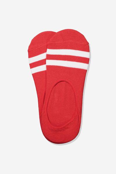 Invisible Socks 2 Pack, RED/WHITE SPORT STRIPE