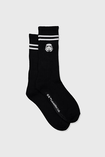 Single Pack Active Socks, LCN LUC BLACK/WHITE STAR WARS TROOPER