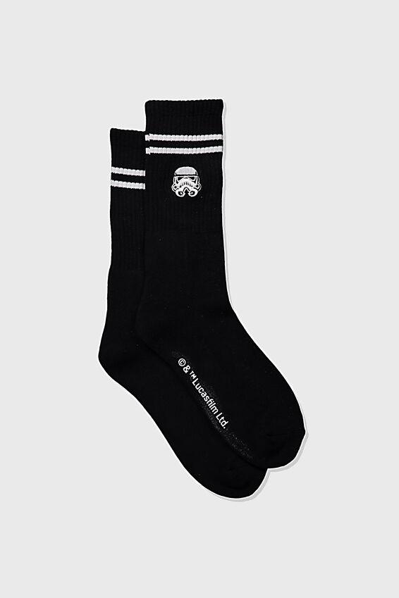 Single Pack Active Socks, LCN LUC BLACK/WHITE STAR WARS TROOPER