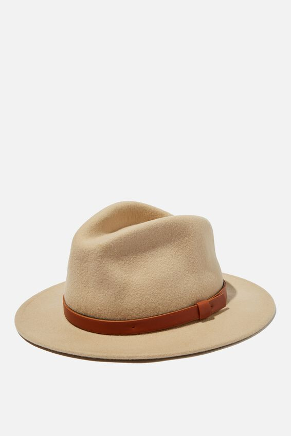 Wide Brim Felt Hat, ECRU/TAN