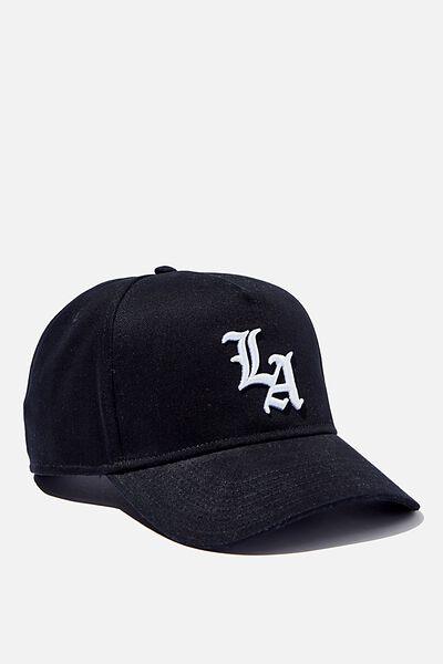 Curved Peak Snapback, BLACK/WHITE/LA