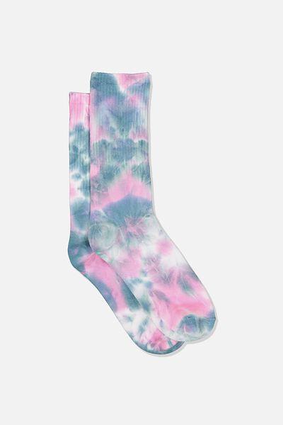 Single Pack Active Socks, BLUE/PINK TIE DYE