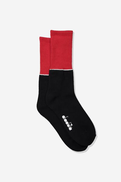 Diadora Active Sock, BLACK/STRONG RED BLOCK