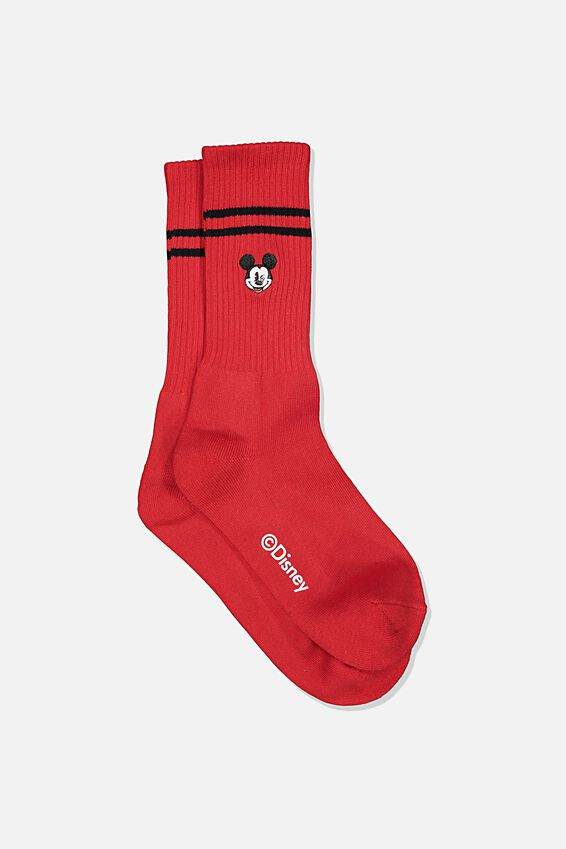 Single Pack Active Socks, LCN DIS RED/BLACK MICKEY