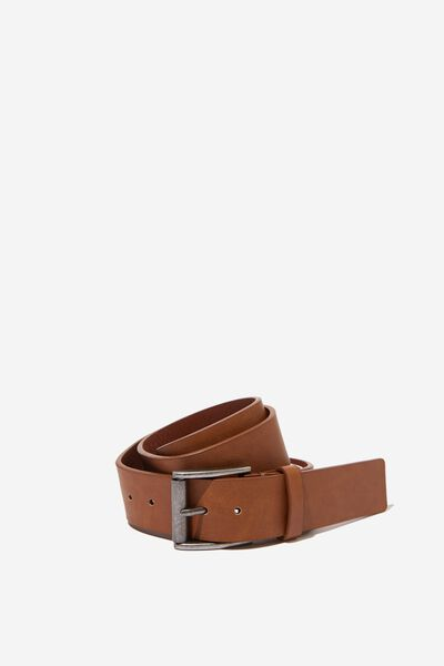 Square Buckle Pu Belt, TAN